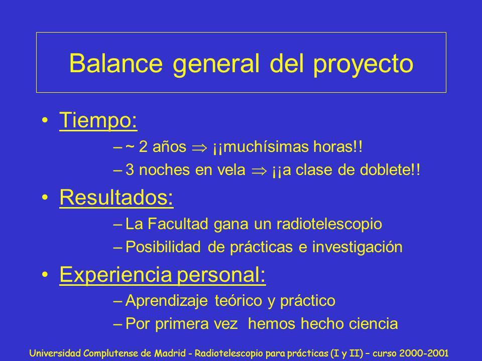 Universidad Complutense de Madrid - Radiotelescopio para prácticas (I y II) – curso 2000-2001 Balance general del proyecto Tiempo: –~ 2 años ¡¡muchísi