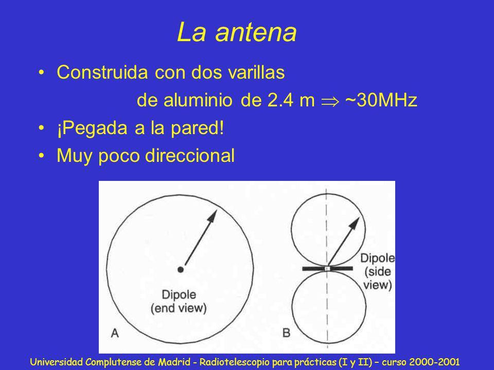 Universidad Complutense de Madrid - Radiotelescopio para prácticas (I y II) – curso 2000-2001 El receptor Circuito RLC sintonizado a 30MHz Alimentado por una batería DC Circuito impreso Diseñado y construido por nosotros