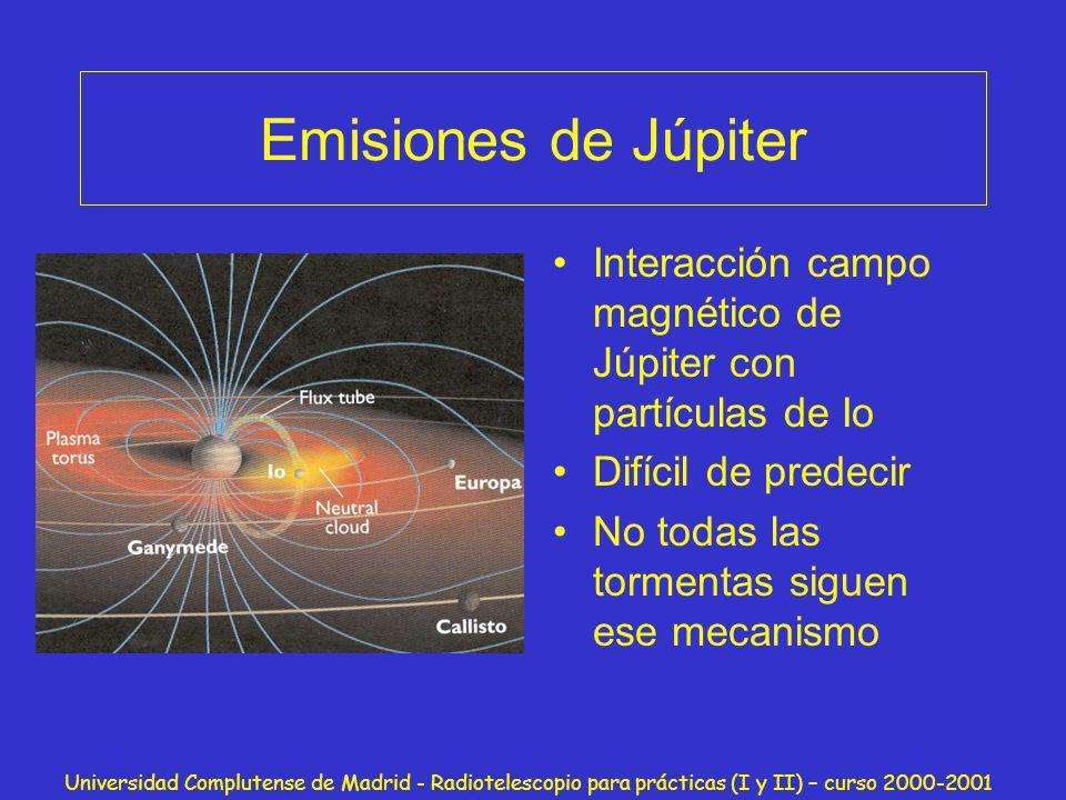 Universidad Complutense de Madrid - Radiotelescopio para prácticas (I y II) – curso 2000-2001 Observaciones Con el radiotelescopio podemos detectar: Júpiter El Sol Emisión galáctica