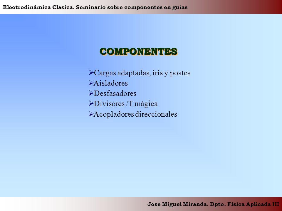Electrodinámica Clasica. Seminario sobre componentes en guías Jose Miguel Miranda. Dpto. Física Aplicada III COMPONENTESCOMPONENTES Cargas adaptadas,