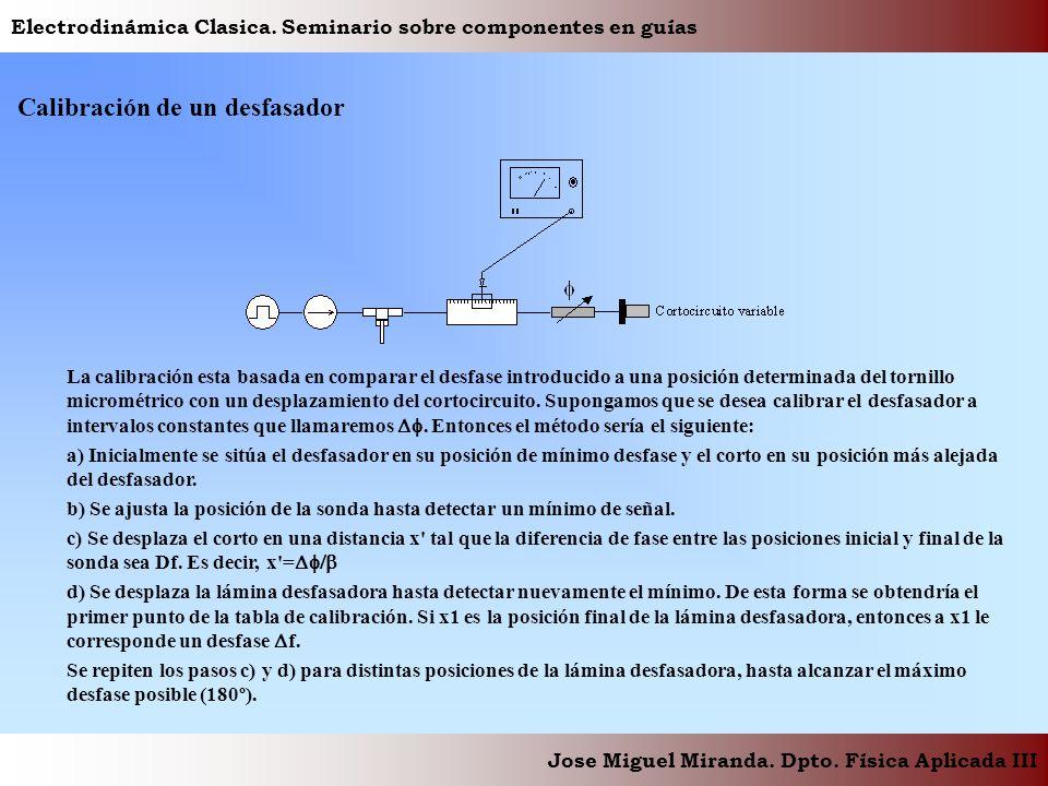 Electrodinámica Clasica. Seminario sobre componentes en guías Jose Miguel Miranda. Dpto. Física Aplicada III Calibración de un desfasador La calibraci