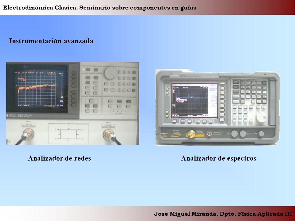 Electrodinámica Clasica. Seminario sobre componentes en guías Jose Miguel Miranda. Dpto. Física Aplicada III Instrumentación avanzada Analizador de re