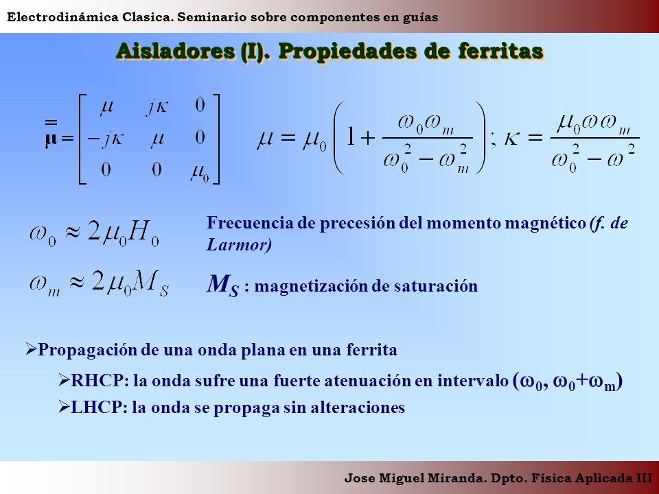 Electrodinámica Clasica. Seminario sobre componentes en guías Jose Miguel Miranda. Dpto. Física Aplicada III Aisladores (I). Propiedades de ferritas P