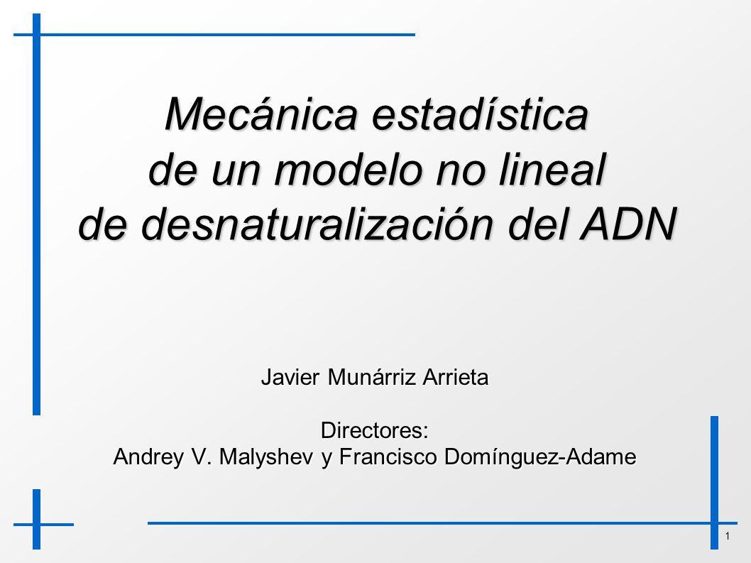 1 Mecánica estadística de un modelo no lineal de desnaturalización del ADN Javier Munárriz Arrieta Directores: Andrey V. Malyshev y Francisco Domíngue