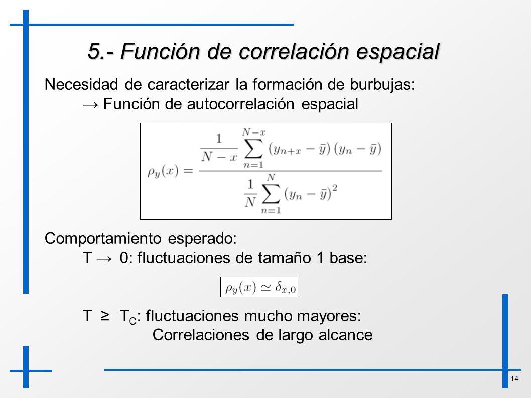 14 5.- Función de correlación espacial Necesidad de caracterizar la formación de burbujas: Función de autocorrelación espacial Comportamiento esperado