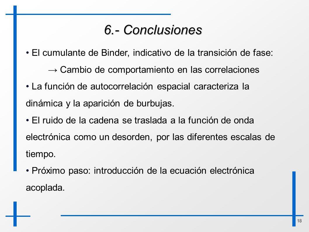 18 6.- Conclusiones El cumulante de Binder, indicativo de la transición de fase: Cambio de comportamiento en las correlaciones La función de autocorre