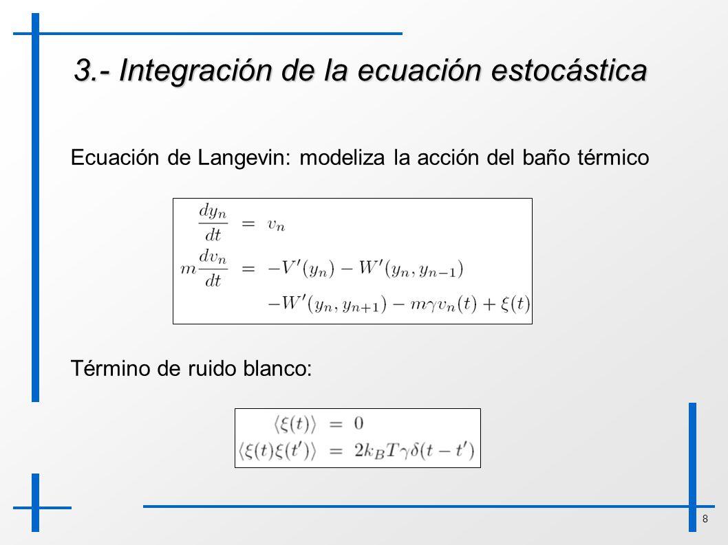 8 3.- Integración de la ecuación estocástica Ecuación de Langevin: modeliza la acción del baño térmico Término de ruido blanco: