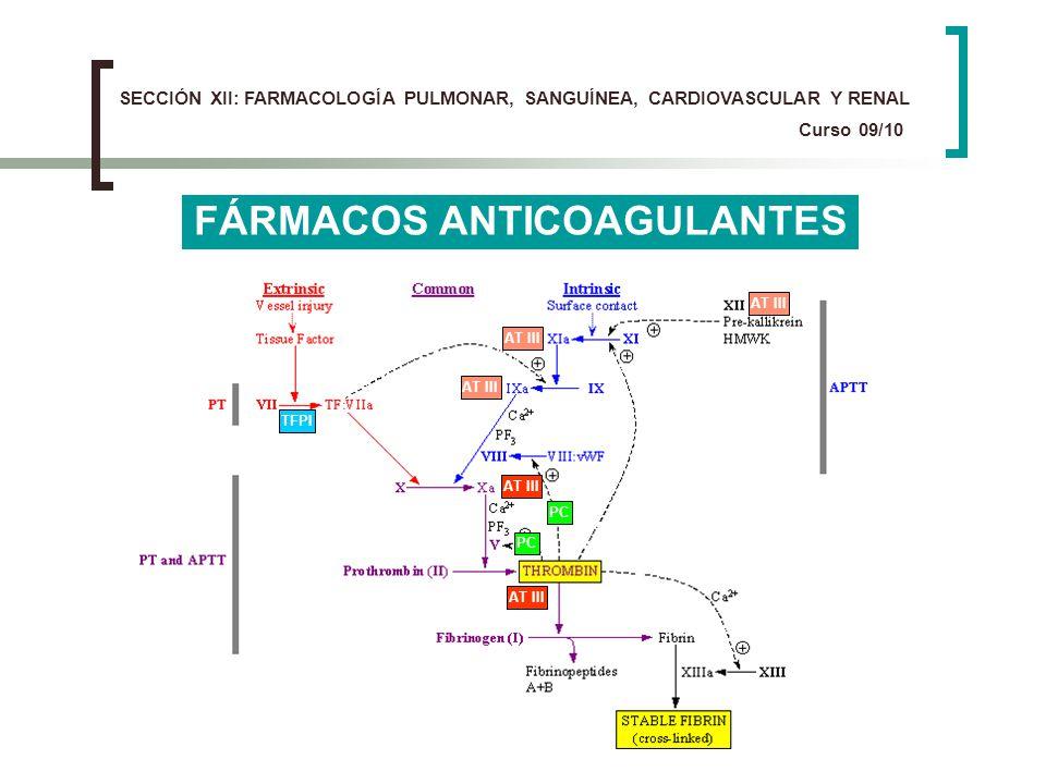 FÁRMACOS ANTICOAGULANTES AT III TFPI PC SECCIÓN XII: FARMACOLOGÍA PULMONAR, SANGUÍNEA, CARDIOVASCULAR Y RENAL Curso 09/10