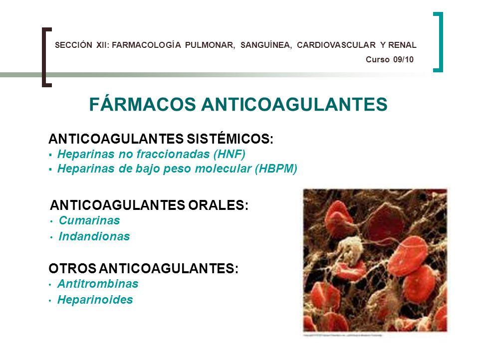 FÁRMACOS ANTICOAGULANTES ANTICOAGULANTES SISTÉMICOS: Heparinas no fraccionadas (HNF) Heparinas de bajo peso molecular (HBPM) OTROS ANTICOAGULANTES: An