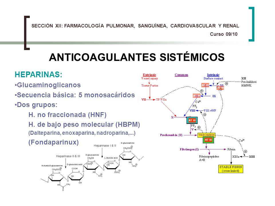 ANTICOAGULANTES SISTÉMICOS HEPARINAS: Glucaminoglicanos Secuencia básica: 5 monosacáridos Dos grupos: H. no fraccionada (HNF) H. de bajo peso molecula