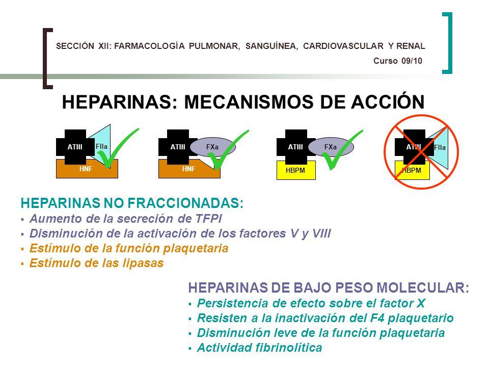 HEPARINAS NO FRACCIONADAS: Aumento de la secreción de TFPI Disminución de la activación de los factores V y VIII Estímulo de la función plaquetaria Es