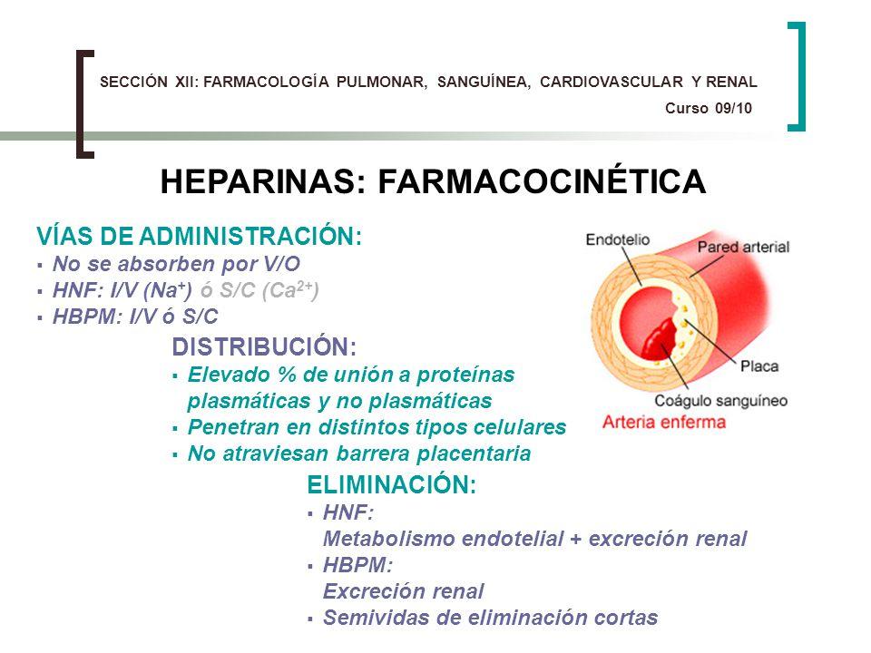 HEPARINAS: FARMACOCINÉTICA VÍAS DE ADMINISTRACIÓN: No se absorben por V/O HNF: I/V (Na + ) ó S/C (Ca 2+ ) HBPM: I/V ó S/C DISTRIBUCIÓN: Elevado % de u