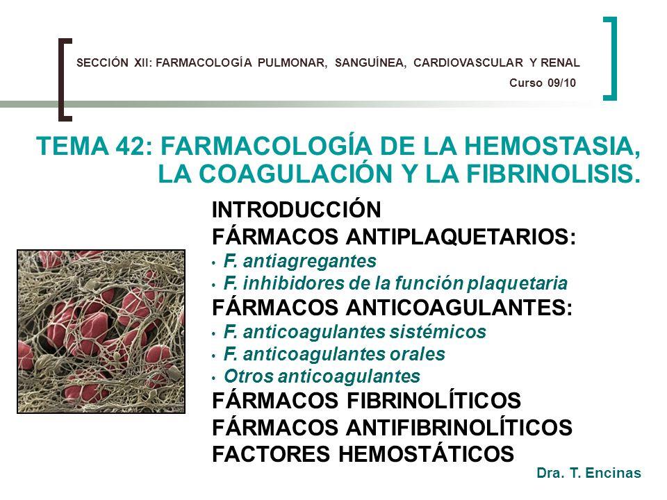 SECCIÓN XII: FARMACOLOGÍA PULMONAR, SANGUÍNEA, CARDIOVASCULAR Y RENAL Curso 09/10 INTRODUCCIÓN FÁRMACOS ANTIPLAQUETARIOS: F. antiagregantes F. inhibid