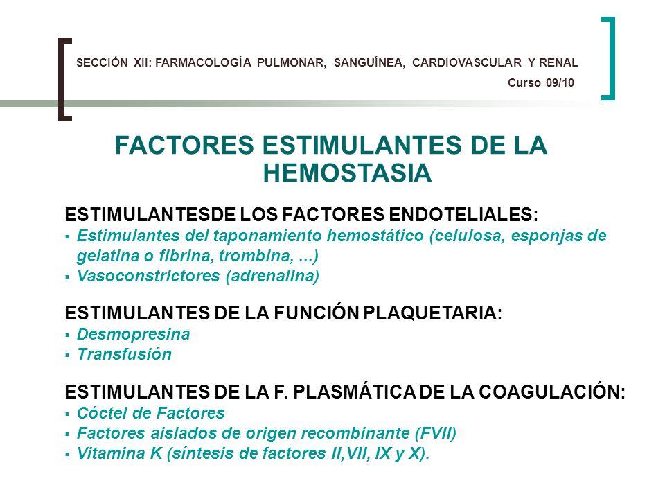 FACTORES ESTIMULANTES DE LA HEMOSTASIA ESTIMULANTES DE LA F. PLASMÁTICA DE LA COAGULACIÓN: Cóctel de Factores Factores aislados de origen recombinante