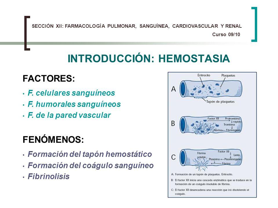INTRODUCCIÓN: HEMOSTASIA FACTORES: F. celulares sanguíneos F. humorales sanguíneos F. de la pared vascular FENÓMENOS: Formación del tapón hemostático