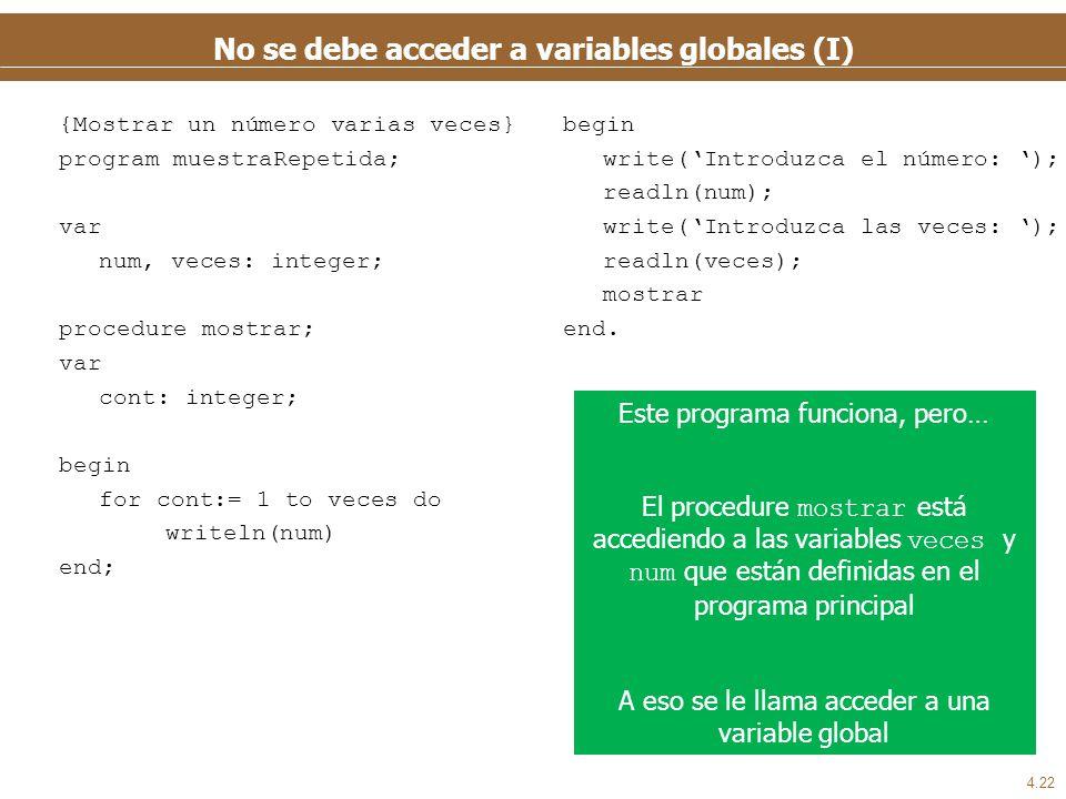 4.22 No se debe acceder a variables globales (I) begin write(Introduzca el número: ); readln(num); write(Introduzca las veces: ); readln(veces); mostr