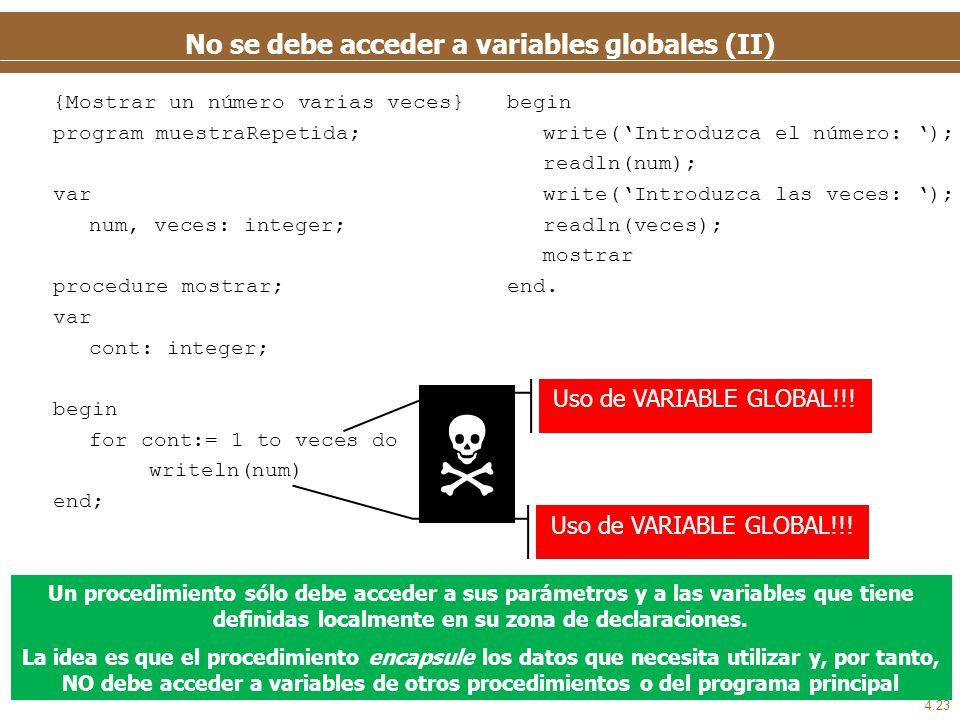 4.23 No se debe acceder a variables globales (II) {Mostrar un número varias veces} program muestraRepetida; var num, veces: integer; procedure mostrar