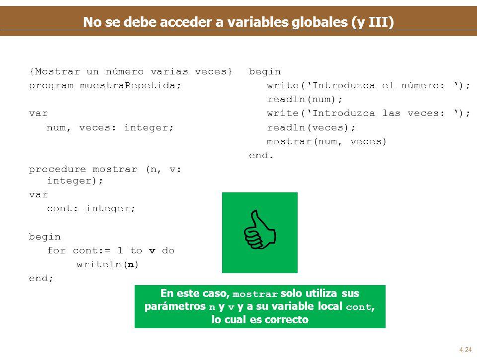 4.24 No se debe acceder a variables globales (y III) {Mostrar un número varias veces} program muestraRepetida; var num, veces: integer; procedure most