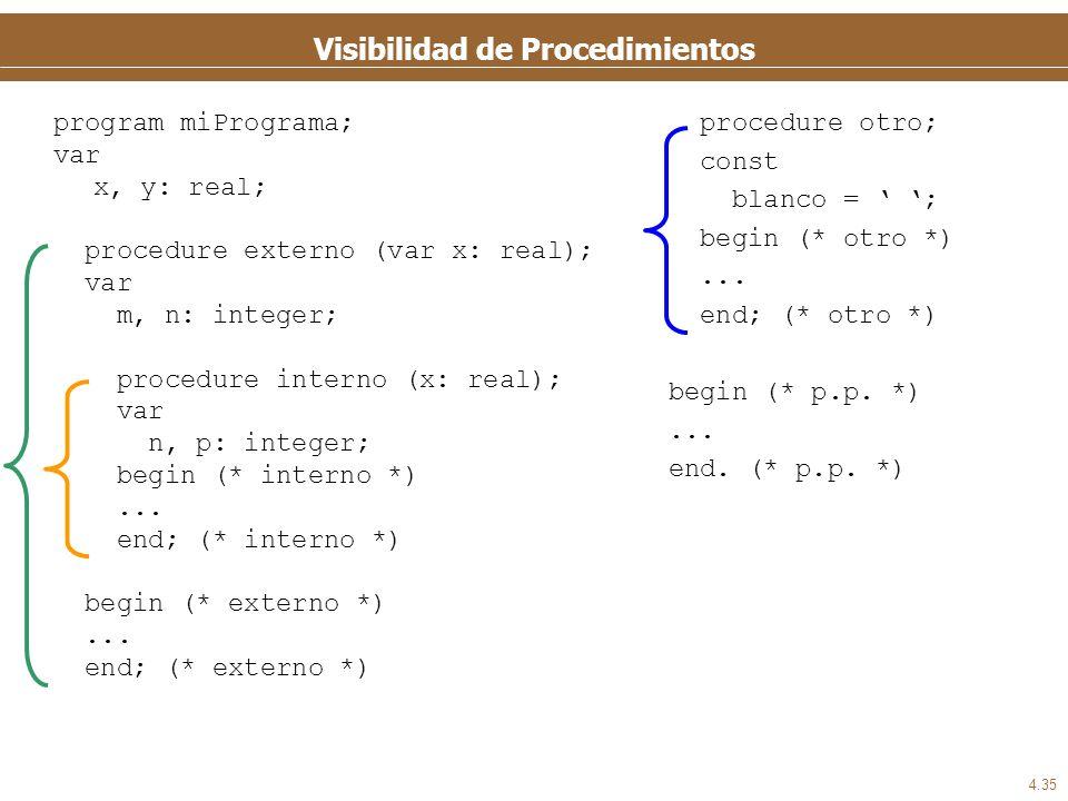 4.35 Visibilidad de Procedimientos program miPrograma; var x, y: real; procedure externo (var x: real); var m, n: integer; procedure interno (x: real)