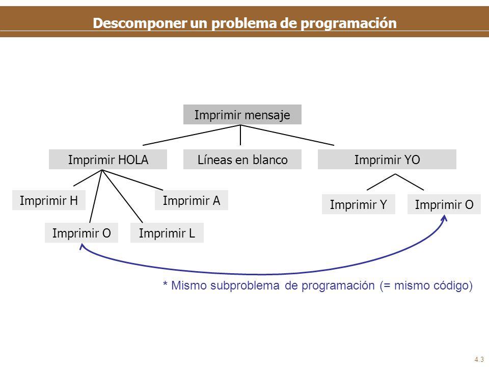 4.3 Descomponer un problema de programación Imprimir mensaje Imprimir HOLALíneas en blancoImprimir YO Imprimir OImprimir Y Imprimir H Imprimir OImprim