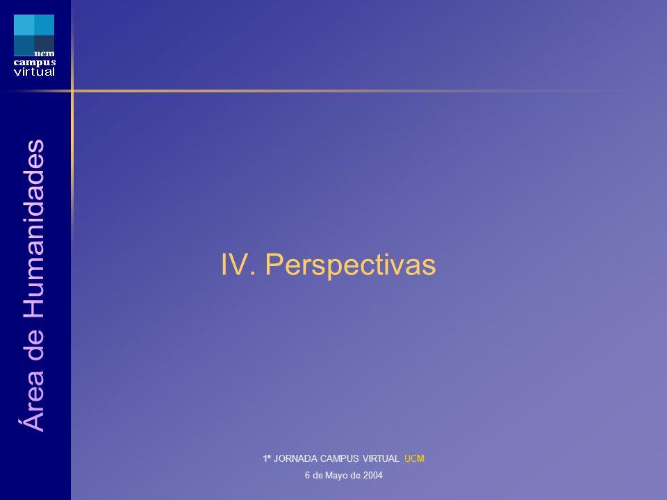 1ª JORNADA CAMPUS VIRTUAL UCM 6 de Mayo de 2004 IV. Perspectivas