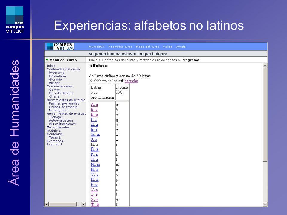 1ª JORNADA CAMPUS VIRTUAL UCM 6 de Mayo de 2004 Experiencias: alfabetos no latinos