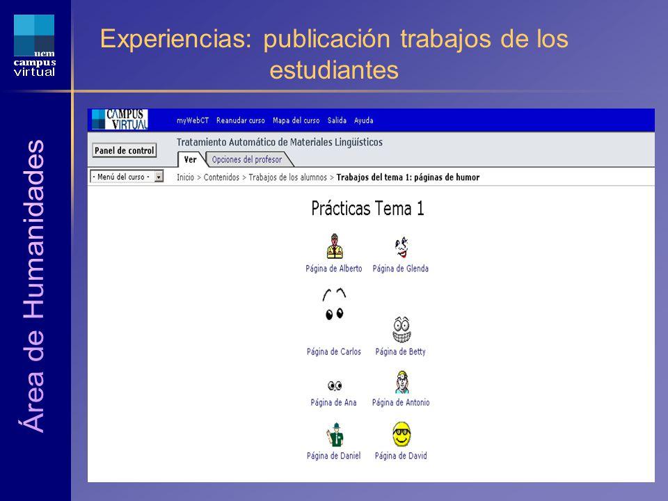 1ª JORNADA CAMPUS VIRTUAL UCM 6 de Mayo de 2004 Experiencias: publicación trabajos de los estudiantes