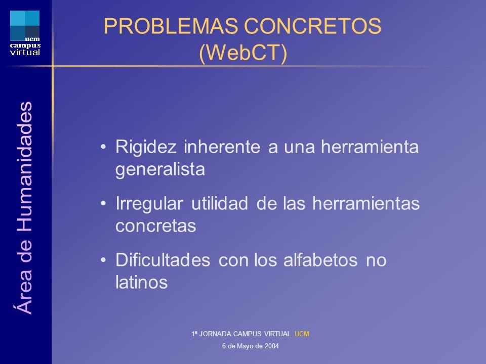 1ª JORNADA CAMPUS VIRTUAL UCM 6 de Mayo de 2004 PROBLEMAS CONCRETOS (WebCT) Rigidez inherente a una herramienta generalista Irregular utilidad de las herramientas concretas Dificultades con los alfabetos no latinos
