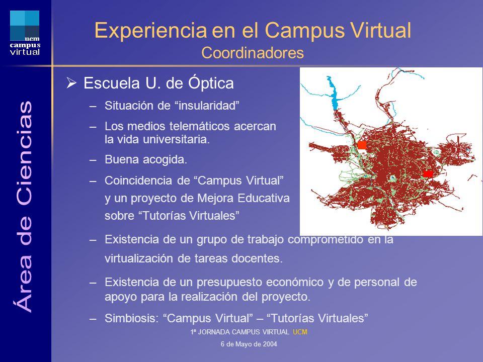 1ª JORNADA CAMPUS VIRTUAL UCM 6 de Mayo de 2004 Experiencia en el Campus Virtual Coordinadores Escuela U.