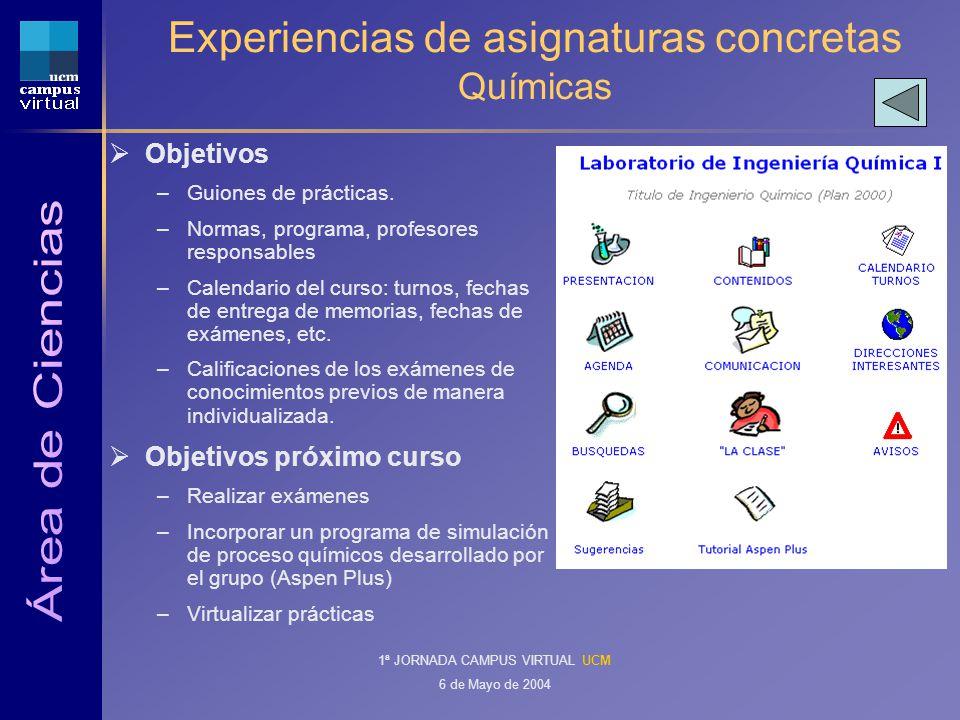 1ª JORNADA CAMPUS VIRTUAL UCM 6 de Mayo de 2004 Experiencias de asignaturas concretas Químicas Objetivos –Guiones de prácticas.