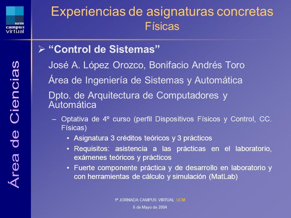 1ª JORNADA CAMPUS VIRTUAL UCM 6 de Mayo de 2004 Experiencias de asignaturas concretas Físicas Control de Sistemas José A.