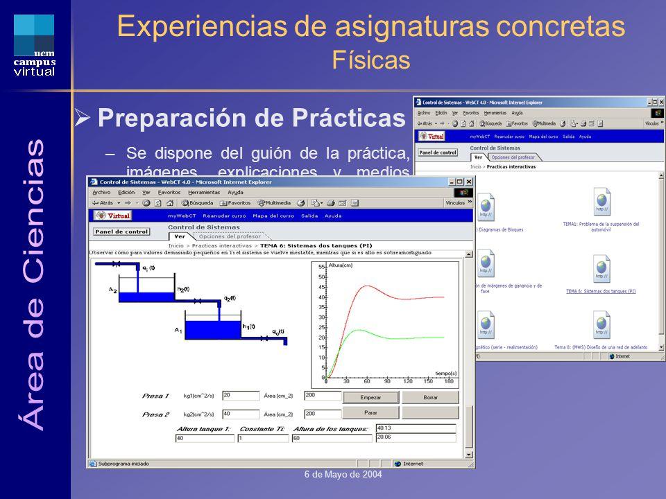 1ª JORNADA CAMPUS VIRTUAL UCM 6 de Mayo de 2004 Experiencias de asignaturas concretas Físicas Preparación de Prácticas –Se dispone del guión de la práctica, imágenes, explicaciones y medios para ejercitarse.