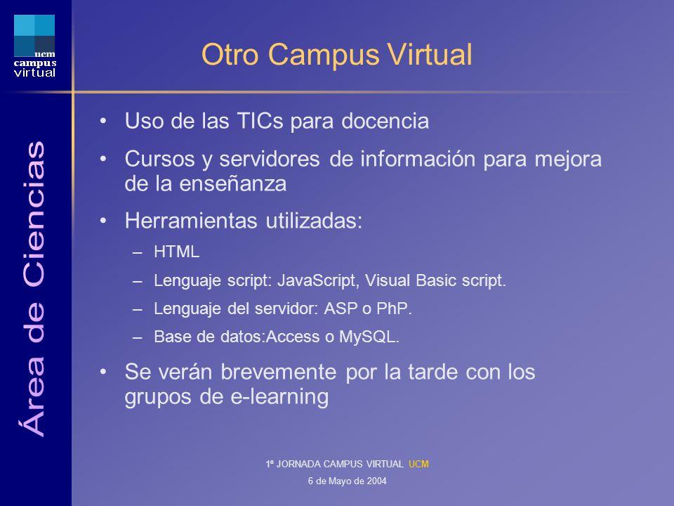 1ª JORNADA CAMPUS VIRTUAL UCM 6 de Mayo de 2004 Otro Campus Virtual Uso de las TICs para docencia Cursos y servidores de información para mejora de la enseñanza Herramientas utilizadas: –HTML –Lenguaje script: JavaScript, Visual Basic script.