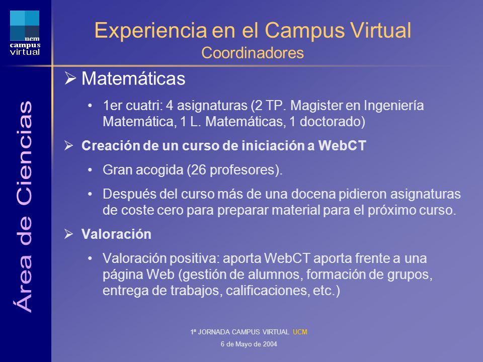 1ª JORNADA CAMPUS VIRTUAL UCM 6 de Mayo de 2004 Experiencia en el Campus Virtual Coordinadores Matemáticas 1er cuatri: 4 asignaturas (2 TP.