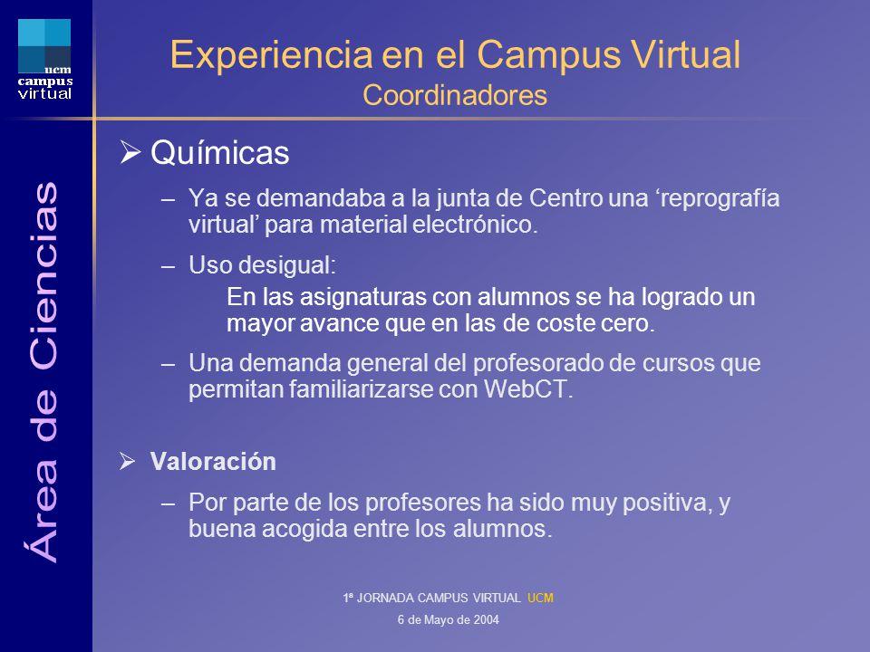 1ª JORNADA CAMPUS VIRTUAL UCM 6 de Mayo de 2004 Experiencia en el Campus Virtual Coordinadores Químicas –Ya se demandaba a la junta de Centro una reprografía virtual para material electrónico.