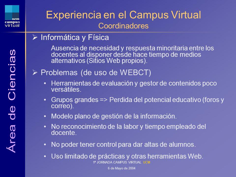 1ª JORNADA CAMPUS VIRTUAL UCM 6 de Mayo de 2004 Experiencia en el Campus Virtual Coordinadores Informática y Física Ausencia de necesidad y respuesta minoritaria entre los docentes al disponer desde hace tiempo de medios alternativos (Sitios Web propios).