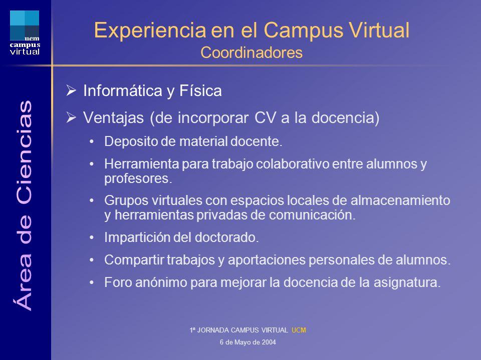 1ª JORNADA CAMPUS VIRTUAL UCM 6 de Mayo de 2004 Experiencia en el Campus Virtual Coordinadores Informática y Física Ventajas (de incorporar CV a la docencia) Deposito de material docente.