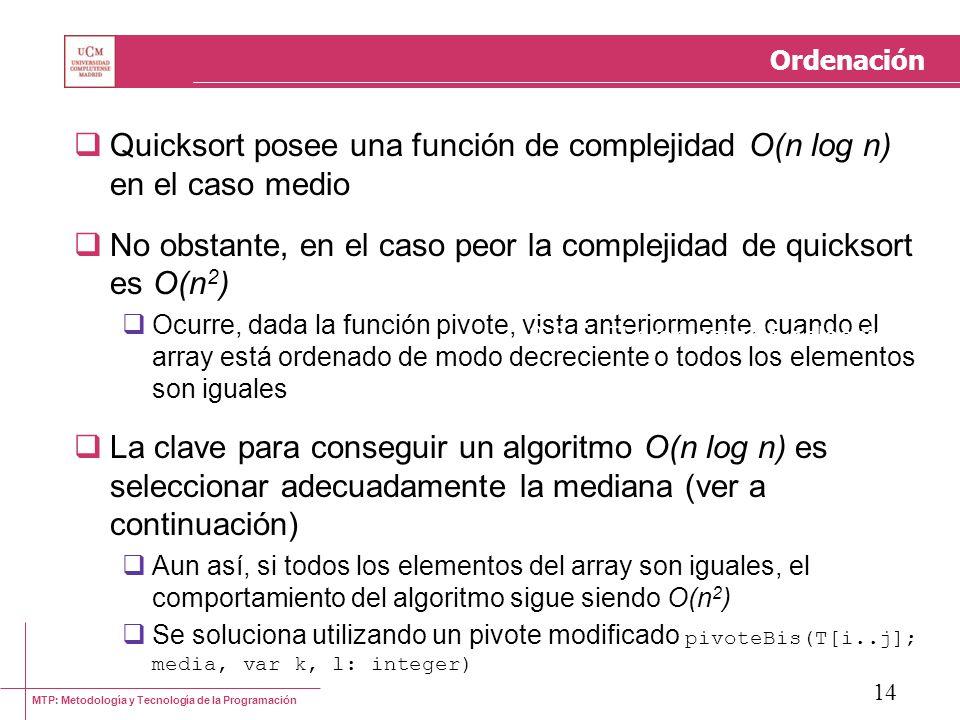 MTP: Metodología y Tecnología de la Programación 14 Ordenación Quicksort posee una función de complejidad O(n log n) en el caso medio No obstante, en