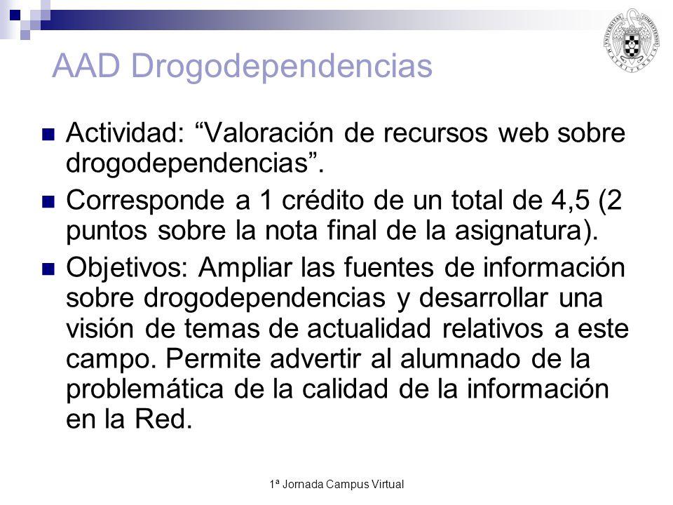 1ª Jornada Campus Virtual11 AAD Drogodependencias Actividad: Valoración de recursos web sobre drogodependencias.