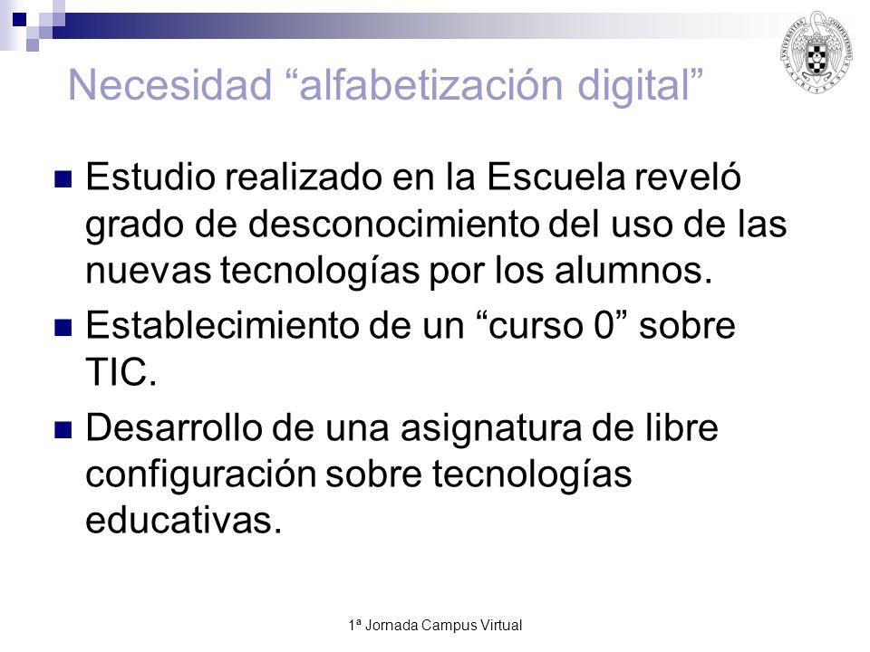 1ª Jornada Campus Virtual12 Necesidad alfabetización digital Estudio realizado en la Escuela reveló grado de desconocimiento del uso de las nuevas tecnologías por los alumnos.