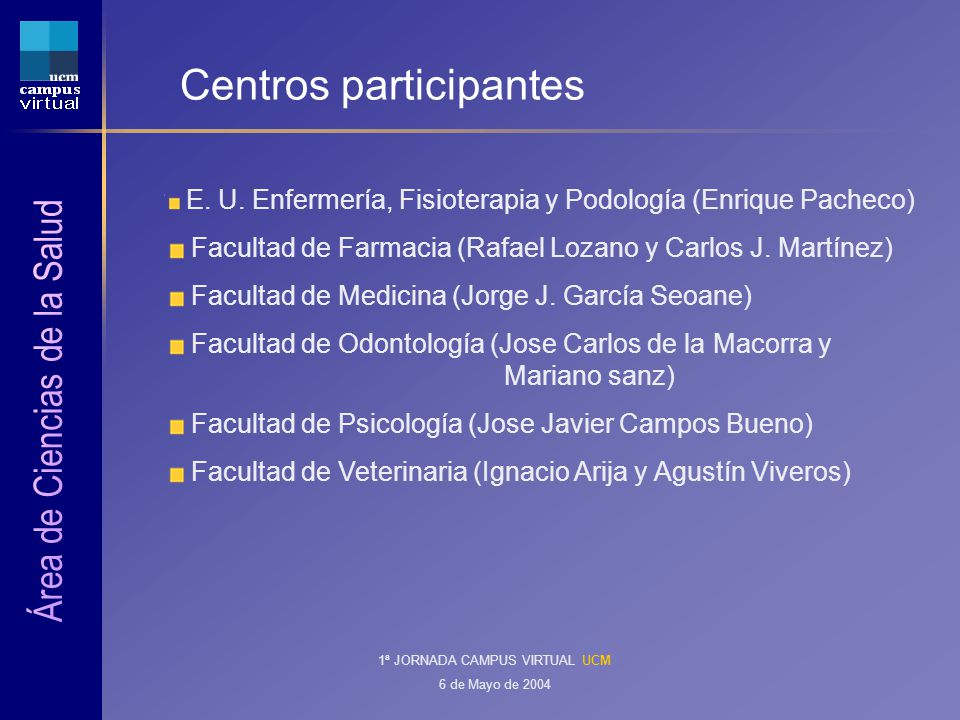 1ª Jornada Campus Virtual13 Master en drogodependencias (I) Número reducido de alumnos: 10.