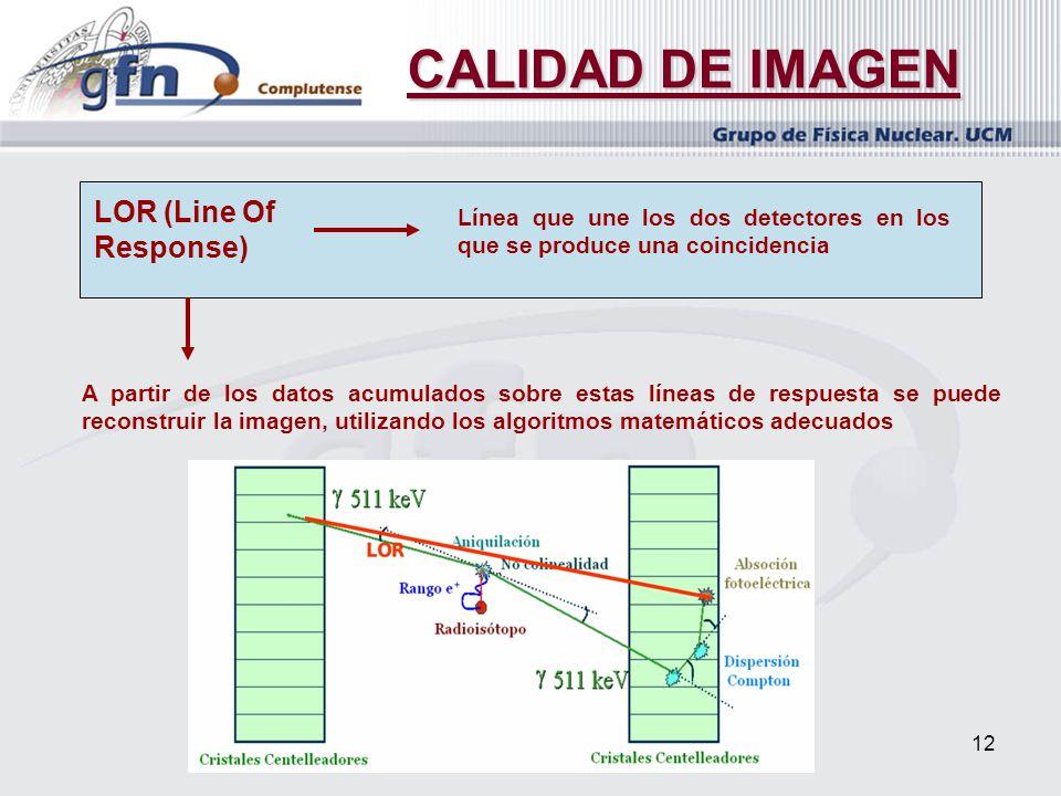 12 CALIDAD DE IMAGEN LOR (Line Of Response) Línea que une los dos detectores en los que se produce una coincidencia A partir de los datos acumulados s