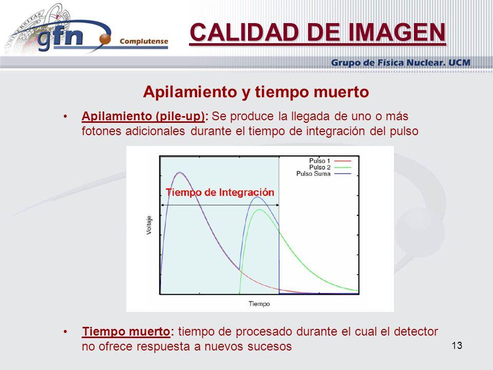 13 CALIDAD DE IMAGEN Apilamiento y tiempo muerto Apilamiento (pile-up): Se produce la llegada de uno o más fotones adicionales durante el tiempo de in