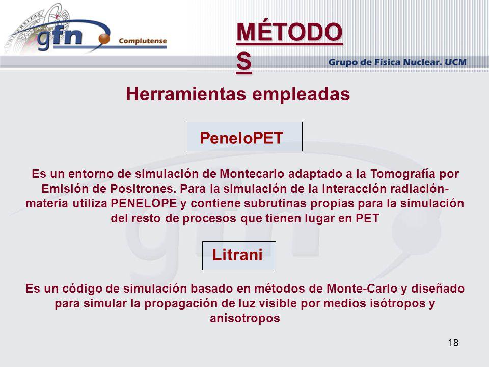 18 MÉTODO S PeneloPET Es un entorno de simulación de Montecarlo adaptado a la Tomografía por Emisión de Positrones. Para la simulación de la interacci