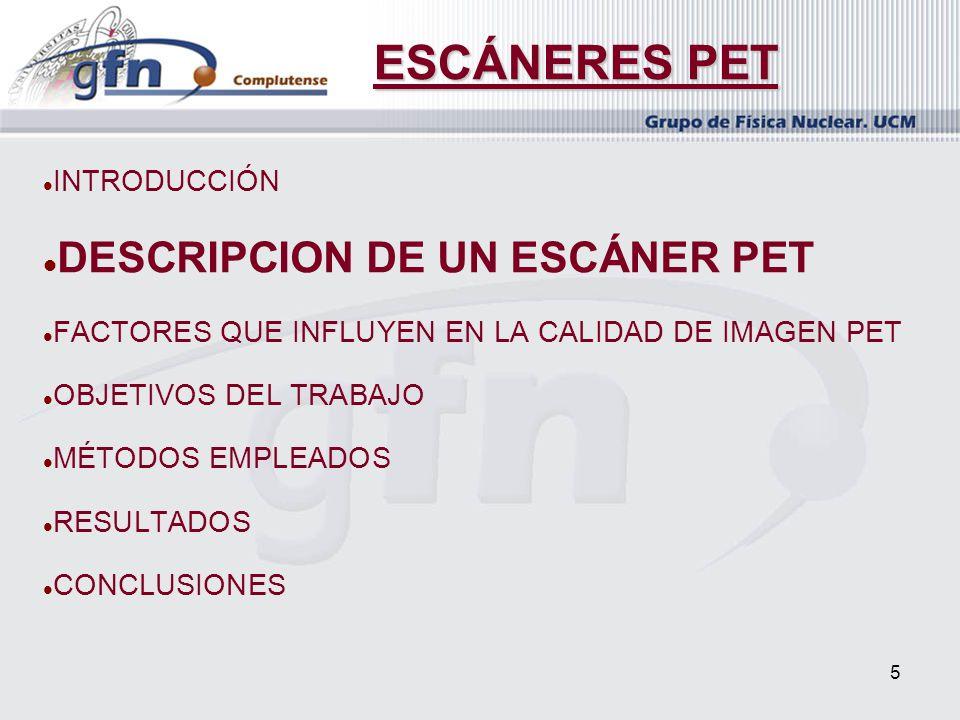 5 INTRODUCCIÓN DESCRIPCION DE UN ESCÁNER PET FACTORES QUE INFLUYEN EN LA CALIDAD DE IMAGEN PET OBJETIVOS DEL TRABAJO MÉTODOS EMPLEADOS RESULTADOS CONC