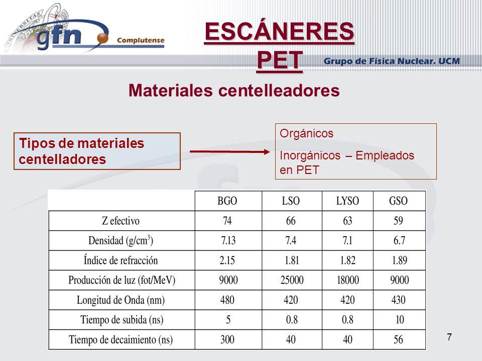 7 Materiales centelleadores Tipos de materiales centelladores Orgánicos Inorgánicos – Empleados en PET