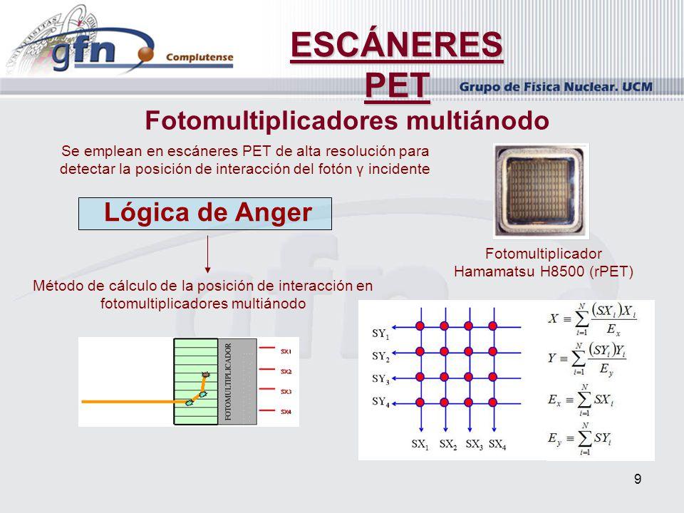9 ESCÁNERES PET Fotomultiplicadores multiánodo Se emplean en escáneres PET de alta resolución para detectar la posición de interacción del fotón γ inc