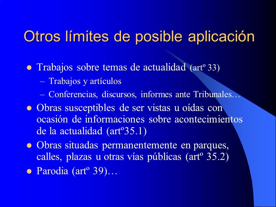 Otros límites de posible aplicación Trabajos sobre temas de actualidad (artº 33) –Trabajos y artículos –Conferencias, discursos, informes ante Tribuna
