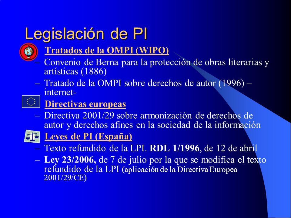 Legislación de PI Tratados de la OMPI (WIPO) –Convenio de Berna para la protección de obras literarias y artísticas (1886) –Tratado de la OMPI sobre d
