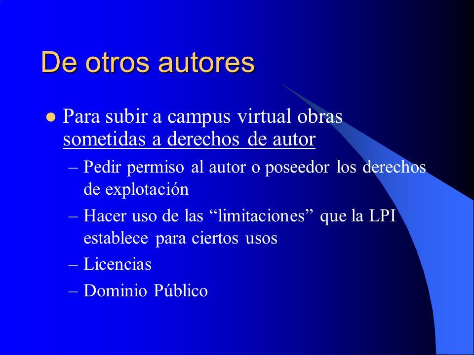 De otros autores Para subir a campus virtual obras sometidas a derechos de autor –Pedir permiso al autor o poseedor los derechos de explotación –Hacer